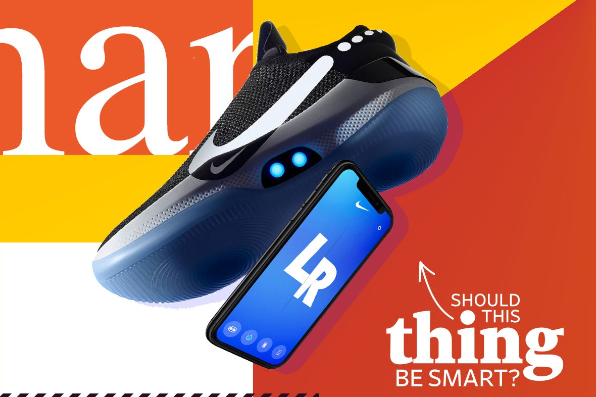 A Nike shoe with a smartphone underneath