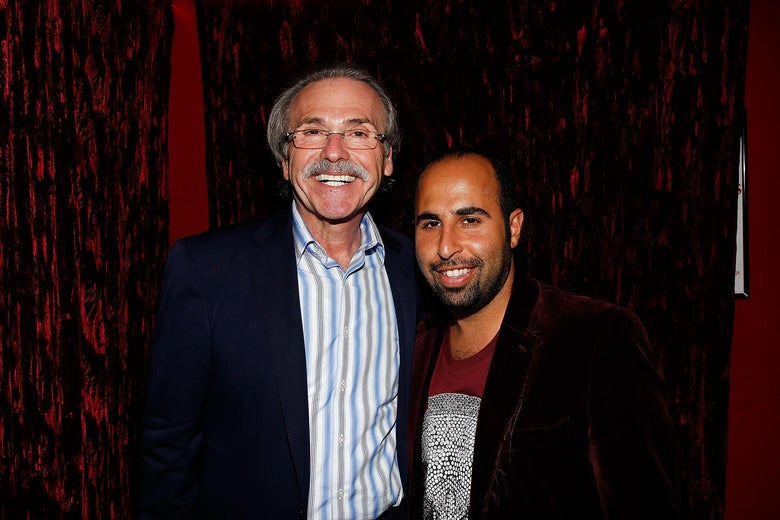 Chairman and CEO of American Media David Pecker and Jon B attend Playboy's 50th anniversary party in 2010, hosted by Pecker.