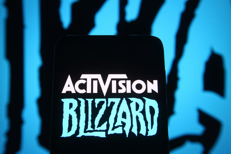 The Activision Blizzard logo, against a blue and black background.