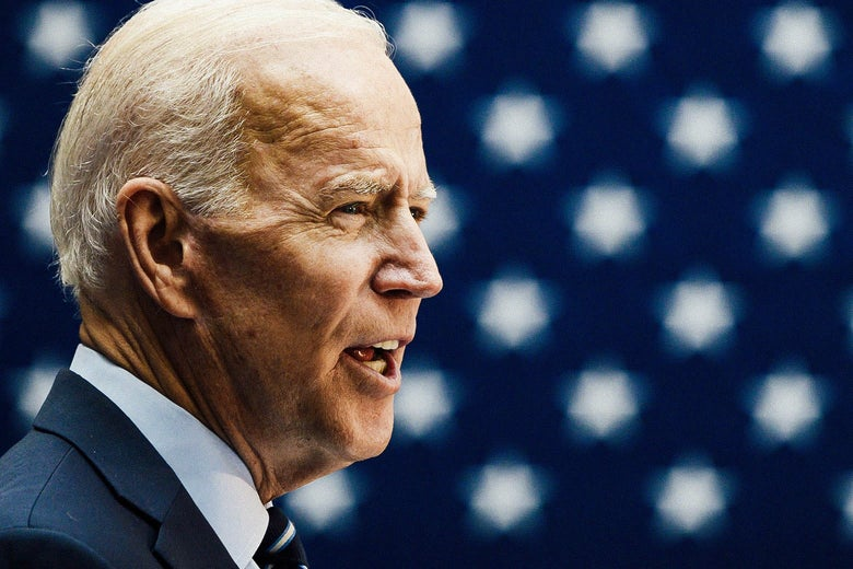 Joe Biden in front of an American flag.