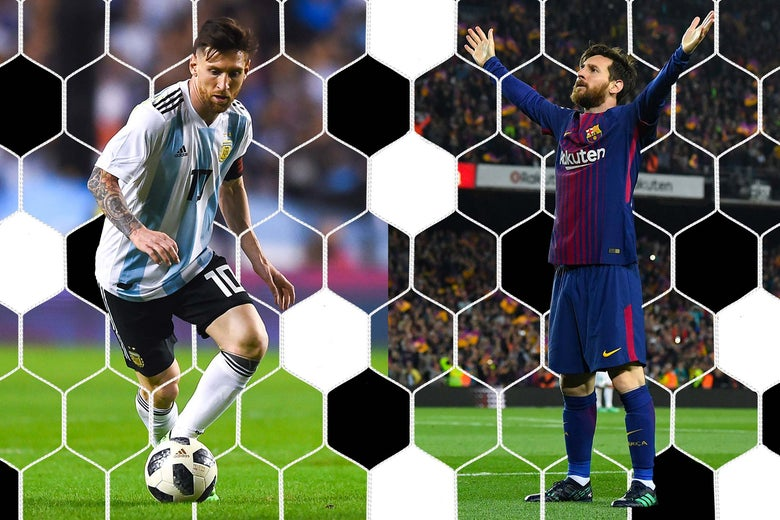 On left, Lionel Messi playing for Argentina. On right, Lionel Messi playing for Barcelona.