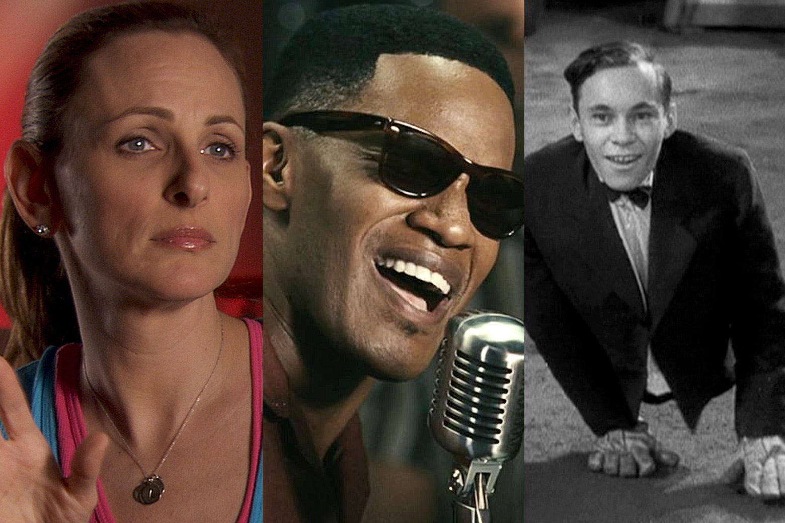Marlee Matlin in CinemAbility, Jamie Foxx in Ray, and Johnny Eck in Freaks.