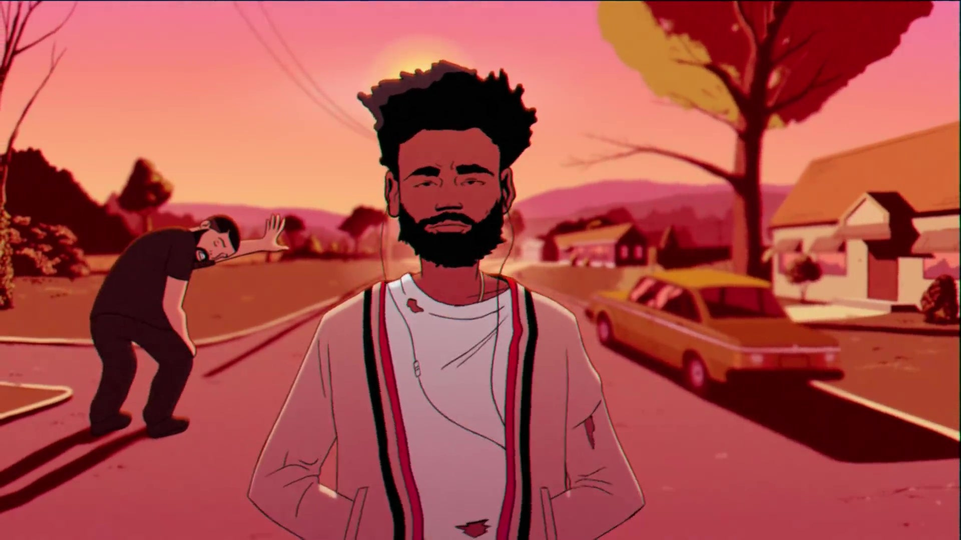 An animated version of Drake, bent over and out of breath.