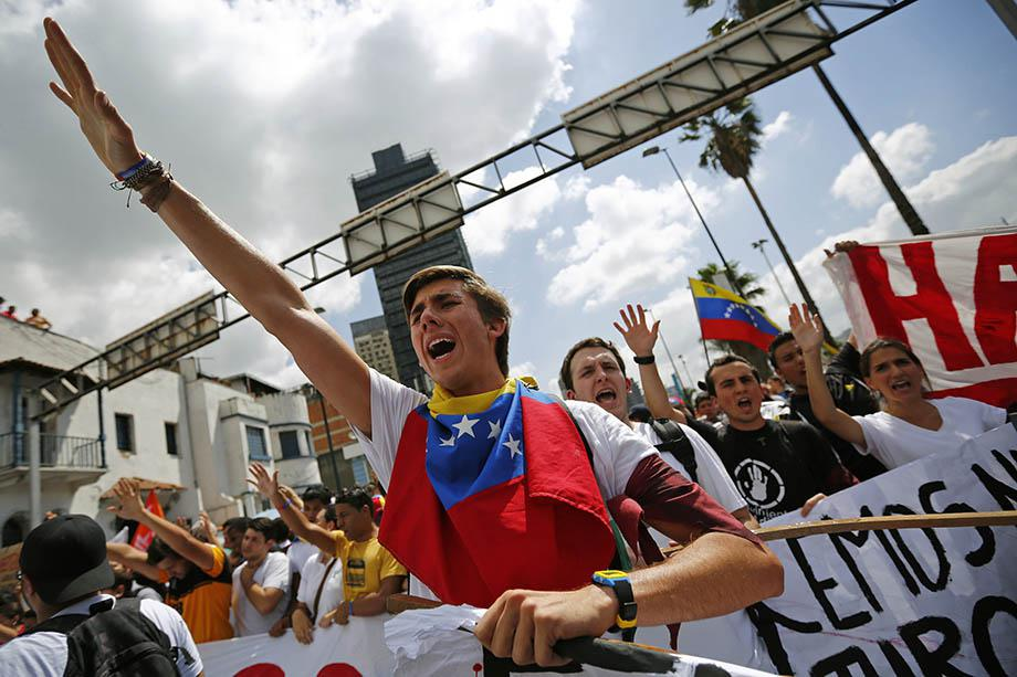 Opposition supporters demonstrate against Venezuela's President Nicolas Maduro's government in Caracas.