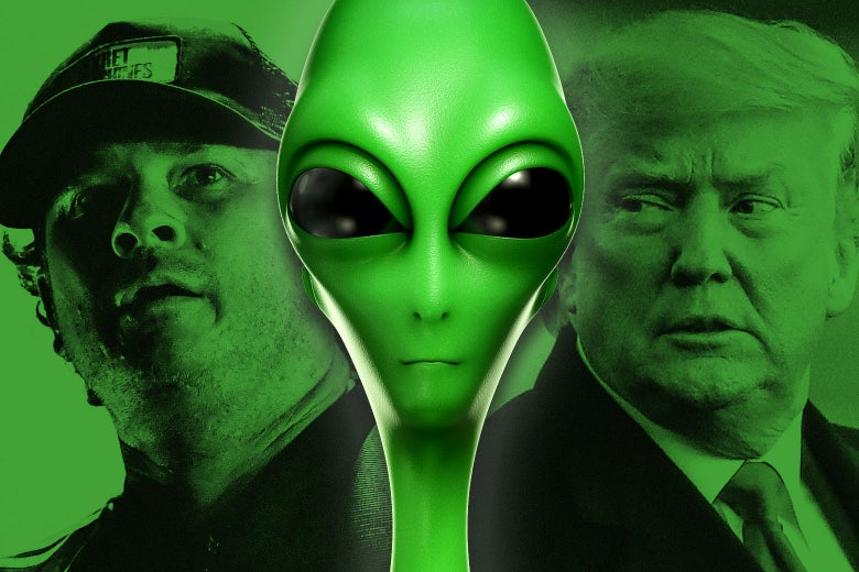 Tom DeLonge, a green alien, and Donald Trump.