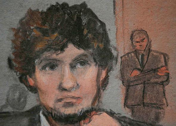A courtroom sketch shows accused Boston Marathon bomber Dzhokhar,A courtroom sketch shows accused Boston Marathon bomber Dzhokhar Tsarnaev