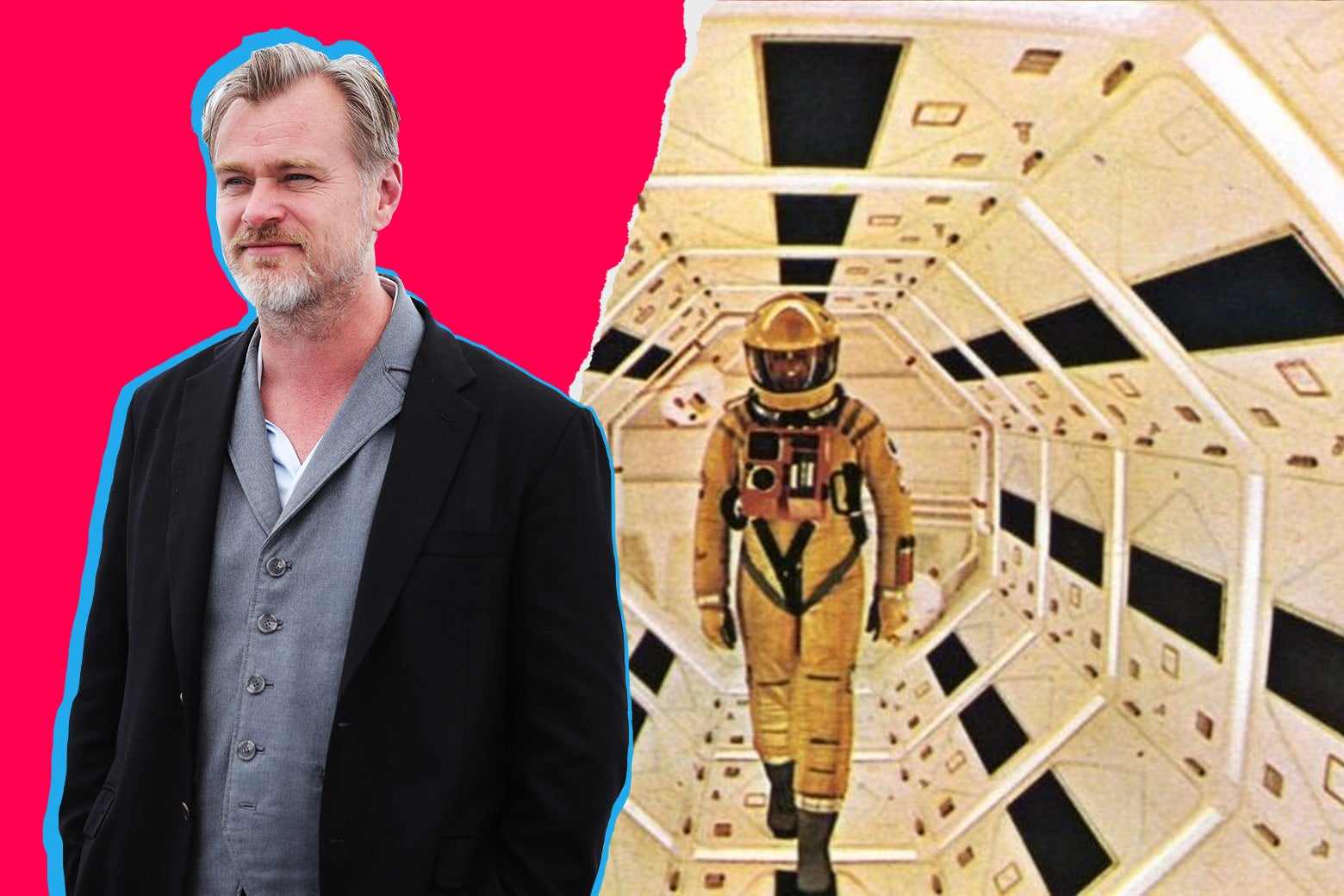 A collage featuring Christopher Nolan at Cannes and a still from 2001: A Space Odyssey.