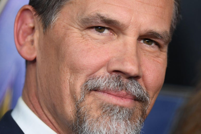 A closeup of Josh Brolin's face on the red carpet at the Avengers: Endgame premiere.