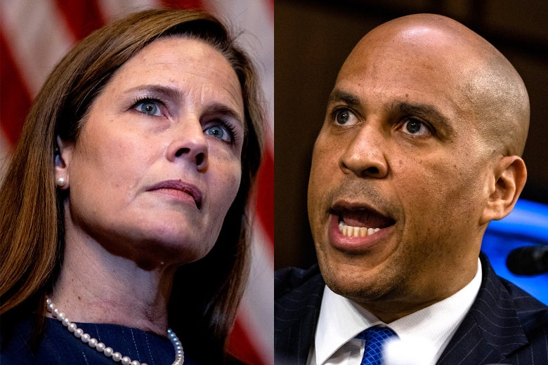 Amy Coney Barrett headshot on the left and Cory Booker headshot on the right
