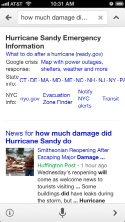 Google voice search for Hurricane Sandy