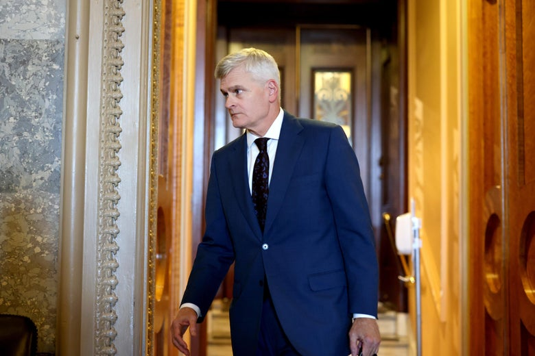 Sen. Bill Cassidy (R-LA) leaves the Senate Chambers in the Capitol Building on August 2, 2021 in Washington, D.C.