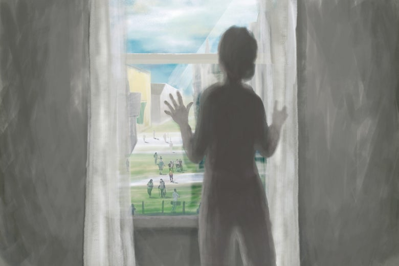 Illustration of a woman standing at a window looking out longingly at people walking outside
