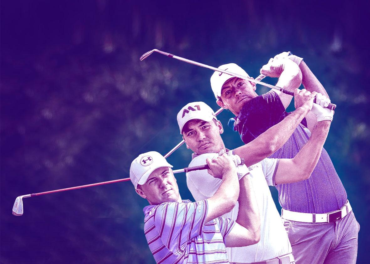 Jordan Spieth of the United States, Jason Day of Australia, and