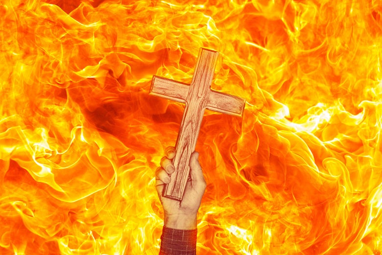 A hand holds a cross aloft within a sea of flames.