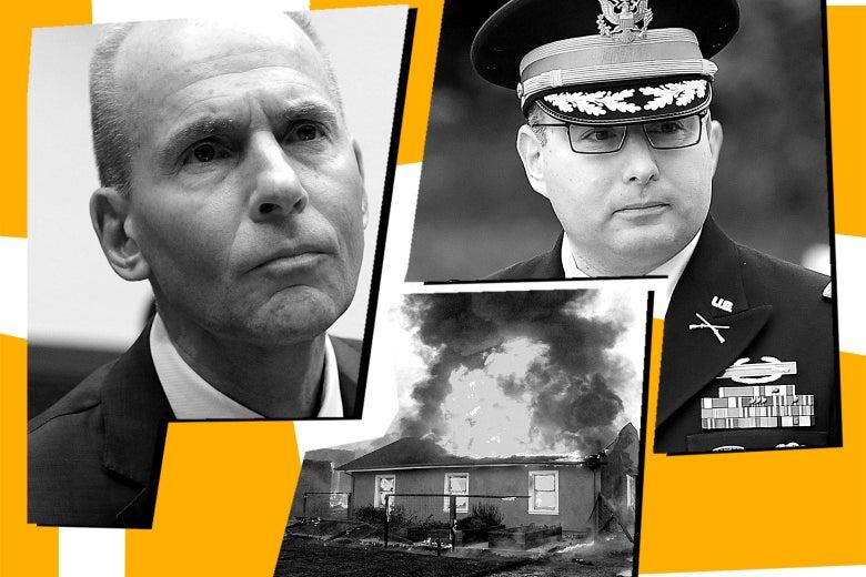Dennis Muilenburg, Alexander Vindman, and a house burning near Geyserville, California.