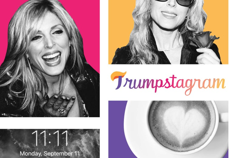 A grid of photos of Marla Maples, a latte, and a iPhone home screen with the time 11:11.