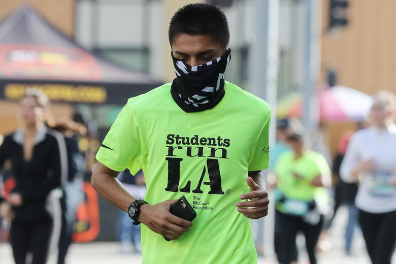 A runner in the Los Angeles Marathon on March 8.