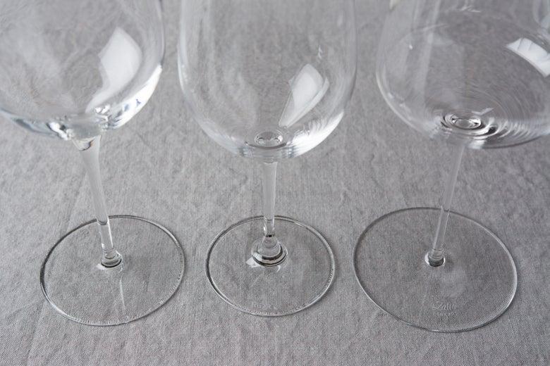 bases of wine glasses