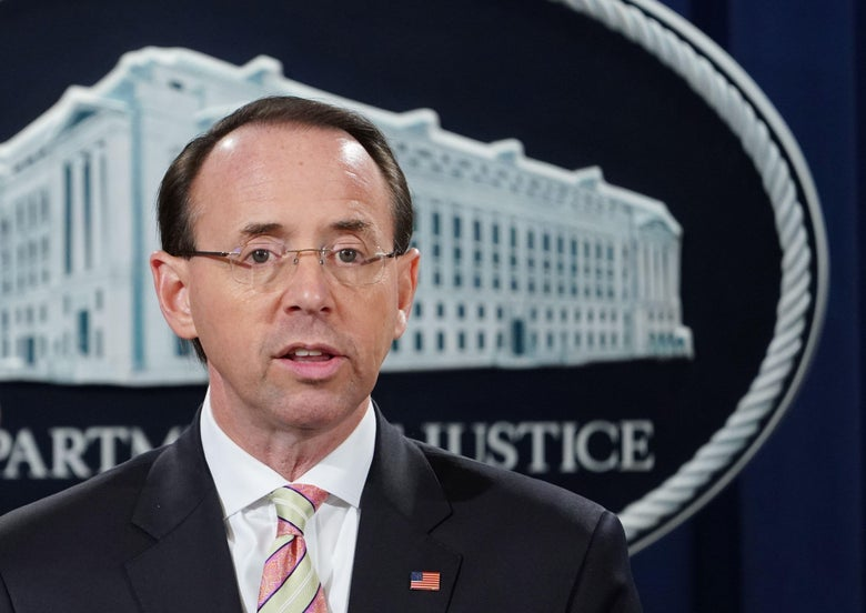 """Rosenstein stands before a seal of the Department of Justice. """"Srcset ="""" https://compote.slate.com/images/0f490e43-a6ff-4c32-b314-a71724c78962.jpeg?width=780&height=520&rectight4545x30005 1x, https://compote.slate.com/images/0f490e43-a6ff -4c32-b314-a71724c78962.jpeg? Width = 780 & height = 520 & rect = 4500x3000 & offset = 0x187 2x"""