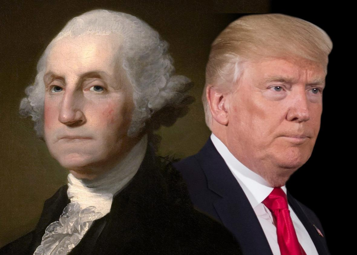 Photo illustration by Slate. Photo by Saul Loeb/Getty Images. Painting by Gilbert Stuart/Wikipedia.
