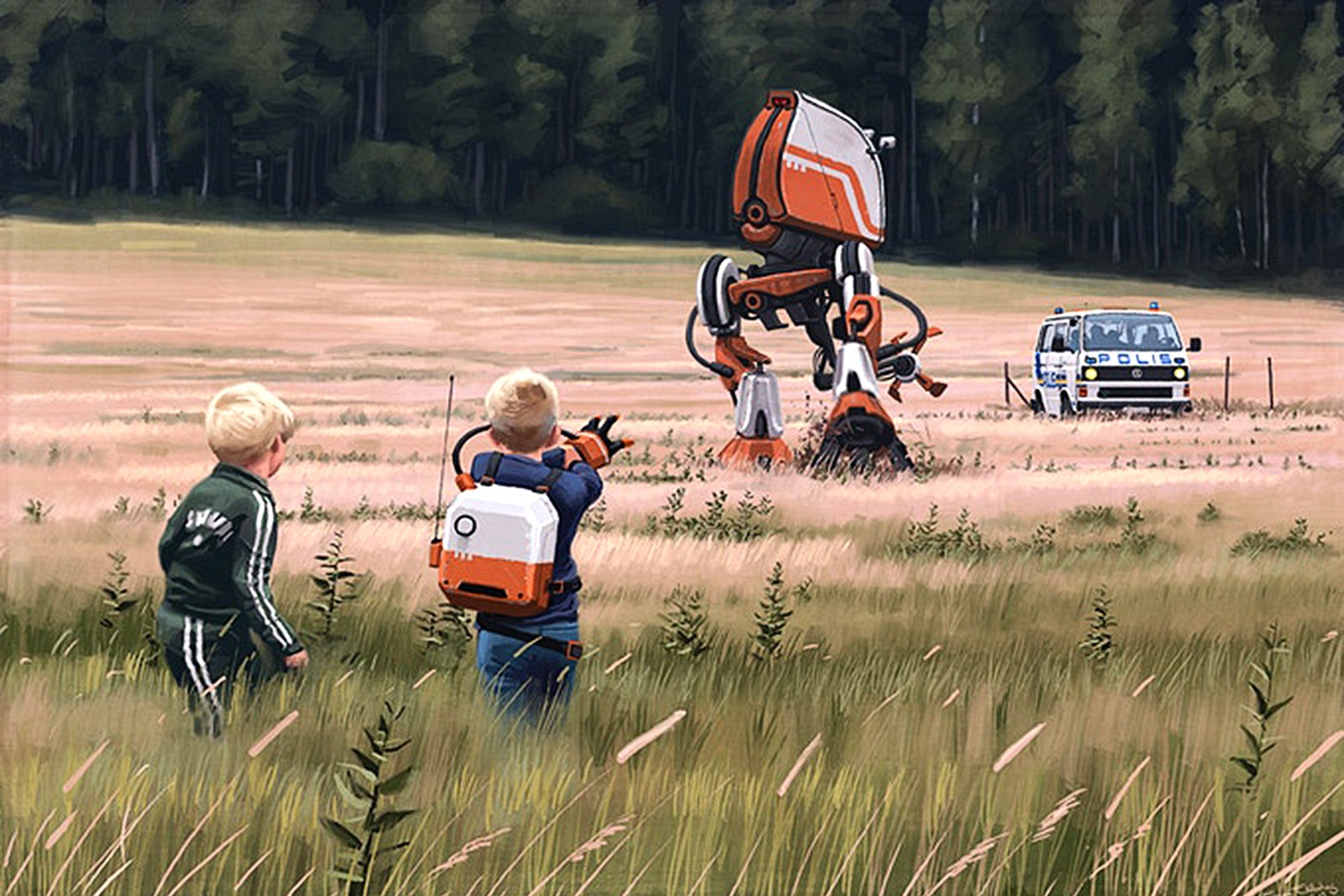 Two children encountering a robot in a field.