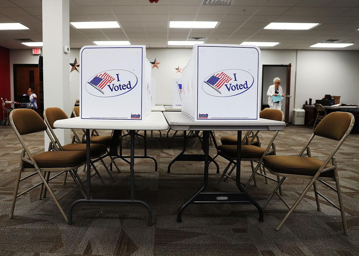 Voting booths are ready for voters at an early voting site in the Supervisor of Elections office on October 24, 2016 in Bradenton, Florida.