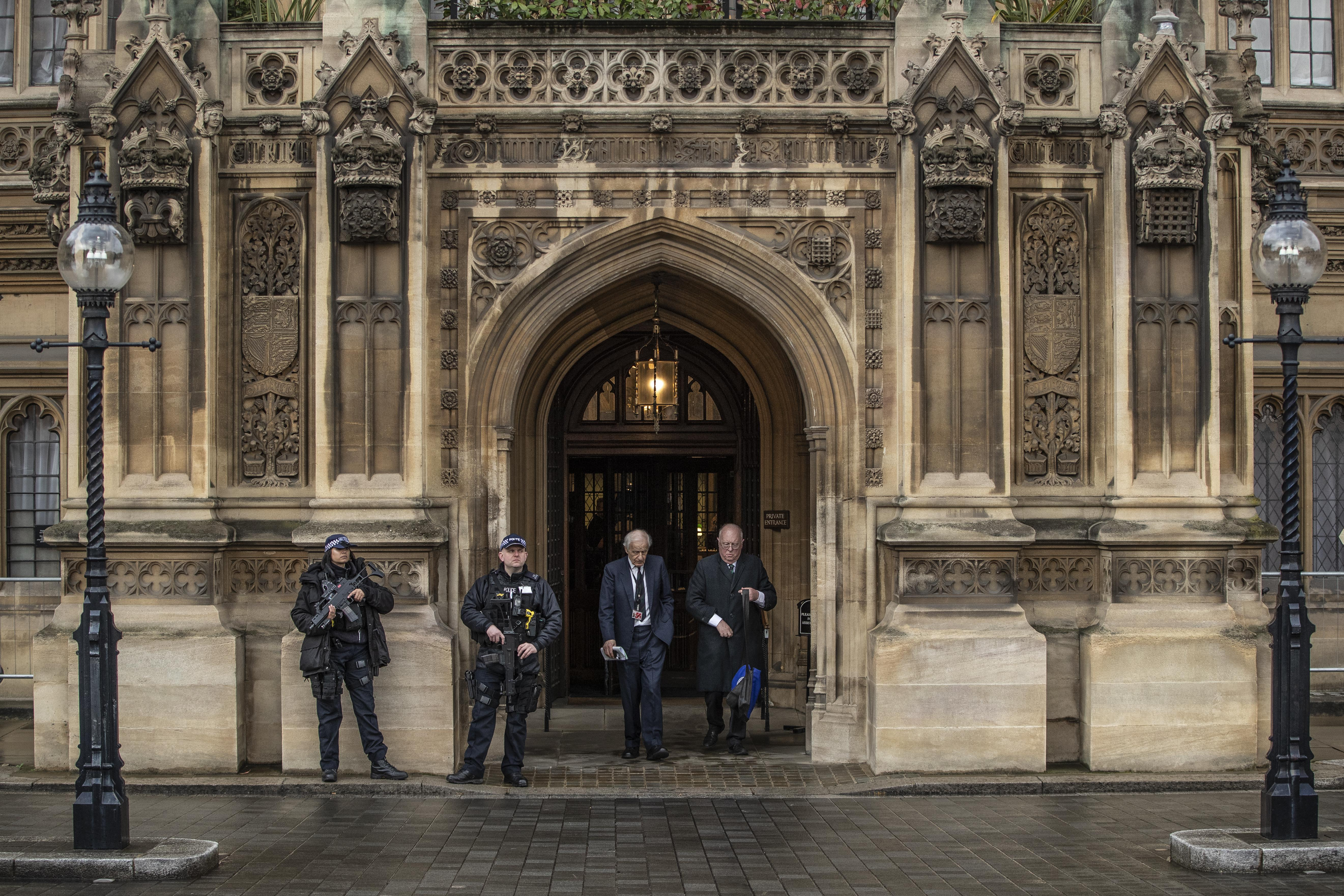 """The """"Peers Entrance"""" to the Houses of Parliament in London."""