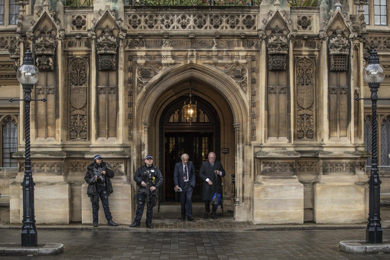 "The ""Peers Entrance"" to the Houses of Parliament in London."