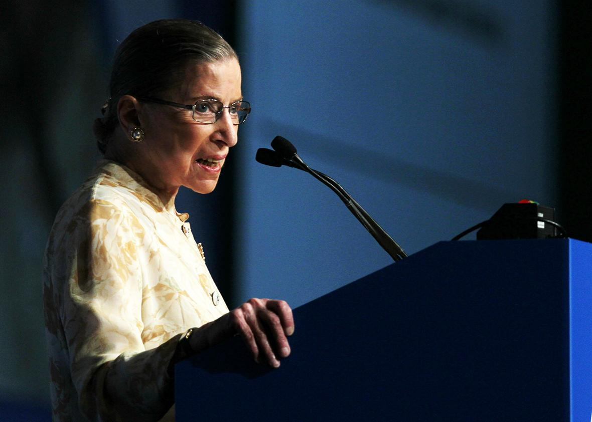 U.S. Supreme Court justice Ruth Bader Ginsburg speaks to delegates at the American Bar Association House of Delegates meeting August 9, 2010 in San Francisco, California.