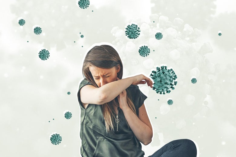 A woman coughs into her elbow with a visualization of the SARS-CoV-2 virus behind her.
