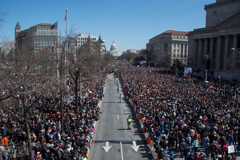Thousands of people gather on Pennsylvania Avenue during the March For Our Lives rally against gun violence in Washington, D.C. on March 24, 2018.