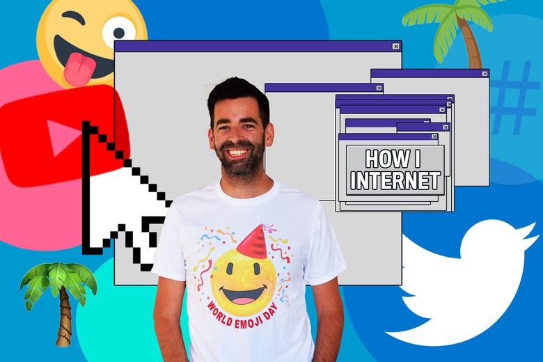 """Jeremy Burge in front of some palm tree emojis and an internet window reading, """"How I Internet."""""""