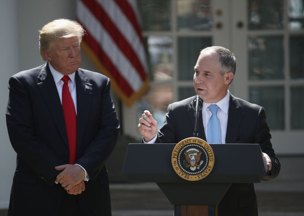 Donald Trump with Environmental Protection Agency chief Scott Pruitt at the White House on June 1, 2017.
