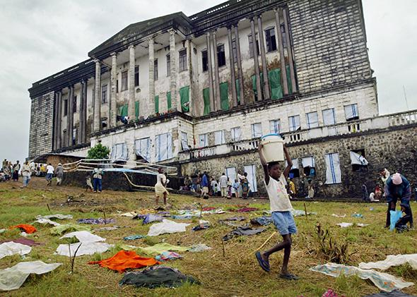 Refugee camp at masonic temple, Monrovia Liberia