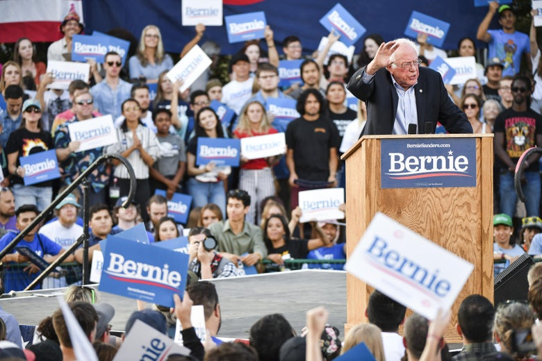 Bernie Sanders speaks to supporters at a rally.