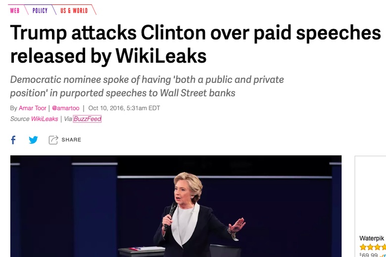 "Screenshot of a news article titled ""Trump attacks Clinton over paid speeches released by WikiLeaks."" The speeches in question involved Wall Street firms."