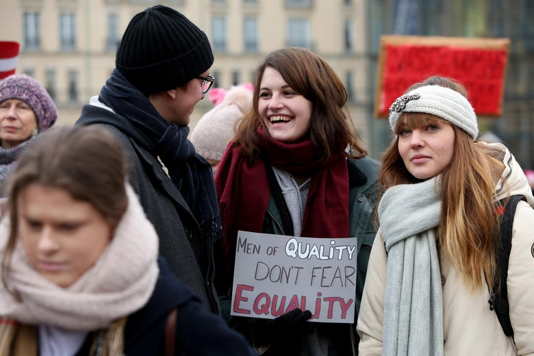 Activists participate in a demonstration for women's rights on January 21, 2018 in Berlin, Germany.