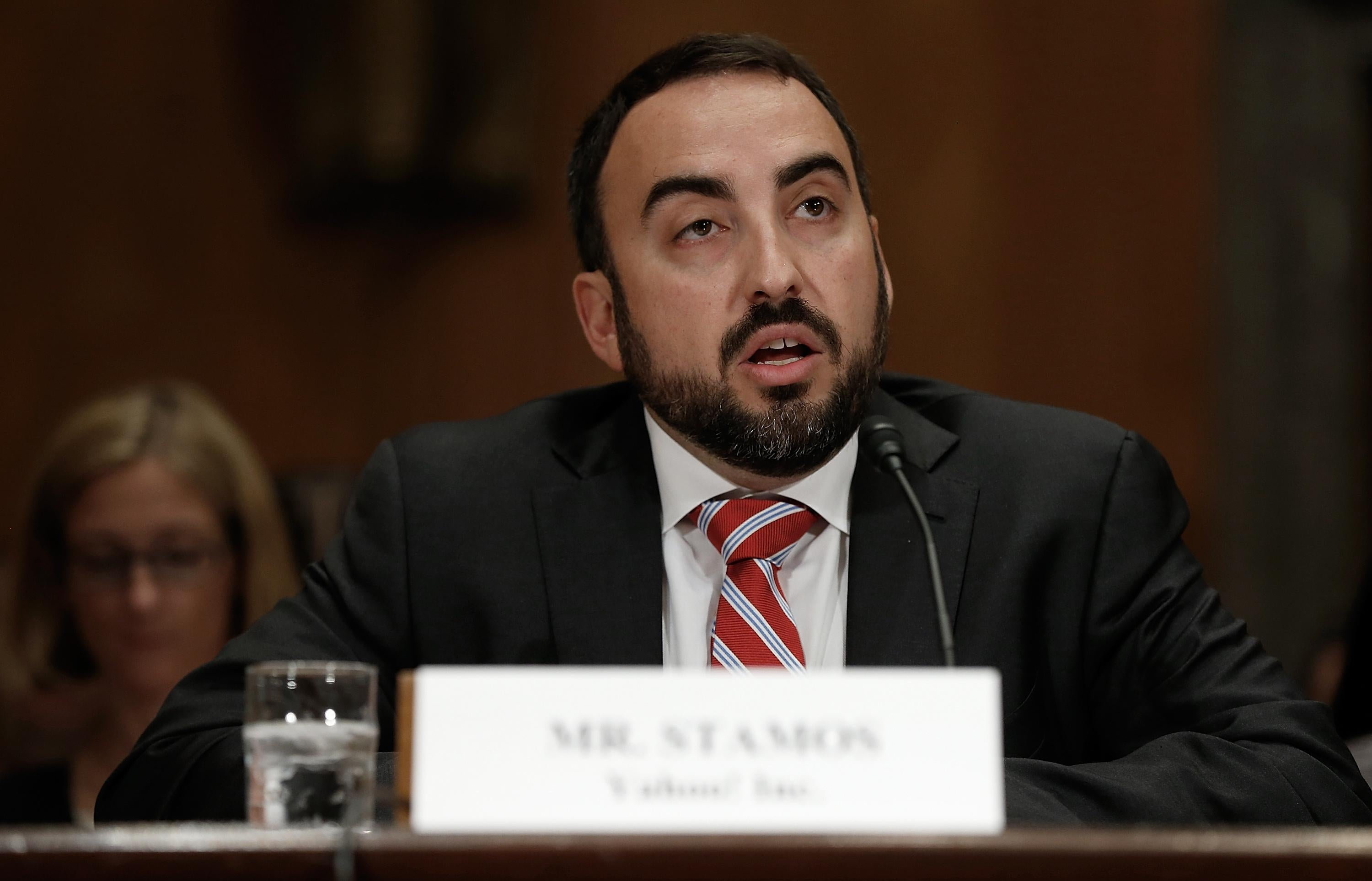 Facebook's chief security officer, Alex Stamos—shown here testifying before the Senate in 2014 in his previous role at Yahoo—is spearheading the company's effort to crack down on fake news, propaganda, and Russian election interference.