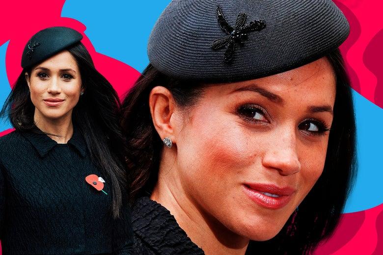 Photo illustration: two photos of Meghan Markle against a colorized background.