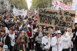 Students in a recent Paris protest. Click image to expand.