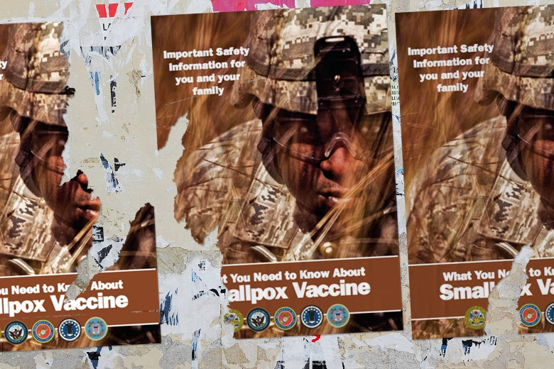 A collage of torn smallpox vaccine posters