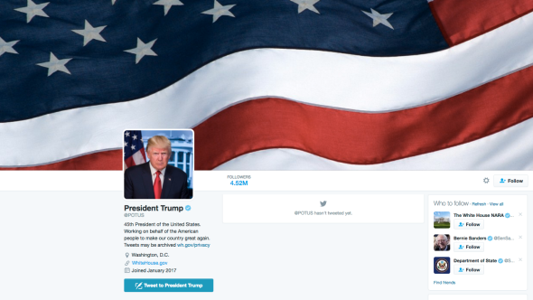 Trump's new Twitter background, hastily added this afternoon.