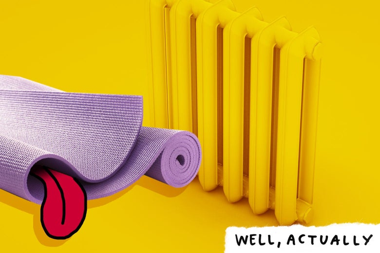 Photo illustration of a yoga mat sweating by a radiator.