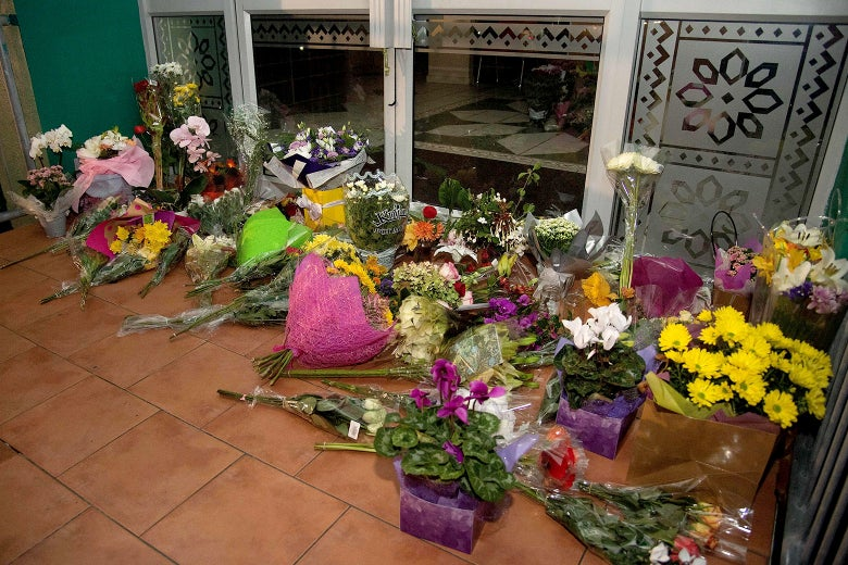 Flowers are placed on the front steps of the Wellington Masjid mosque.