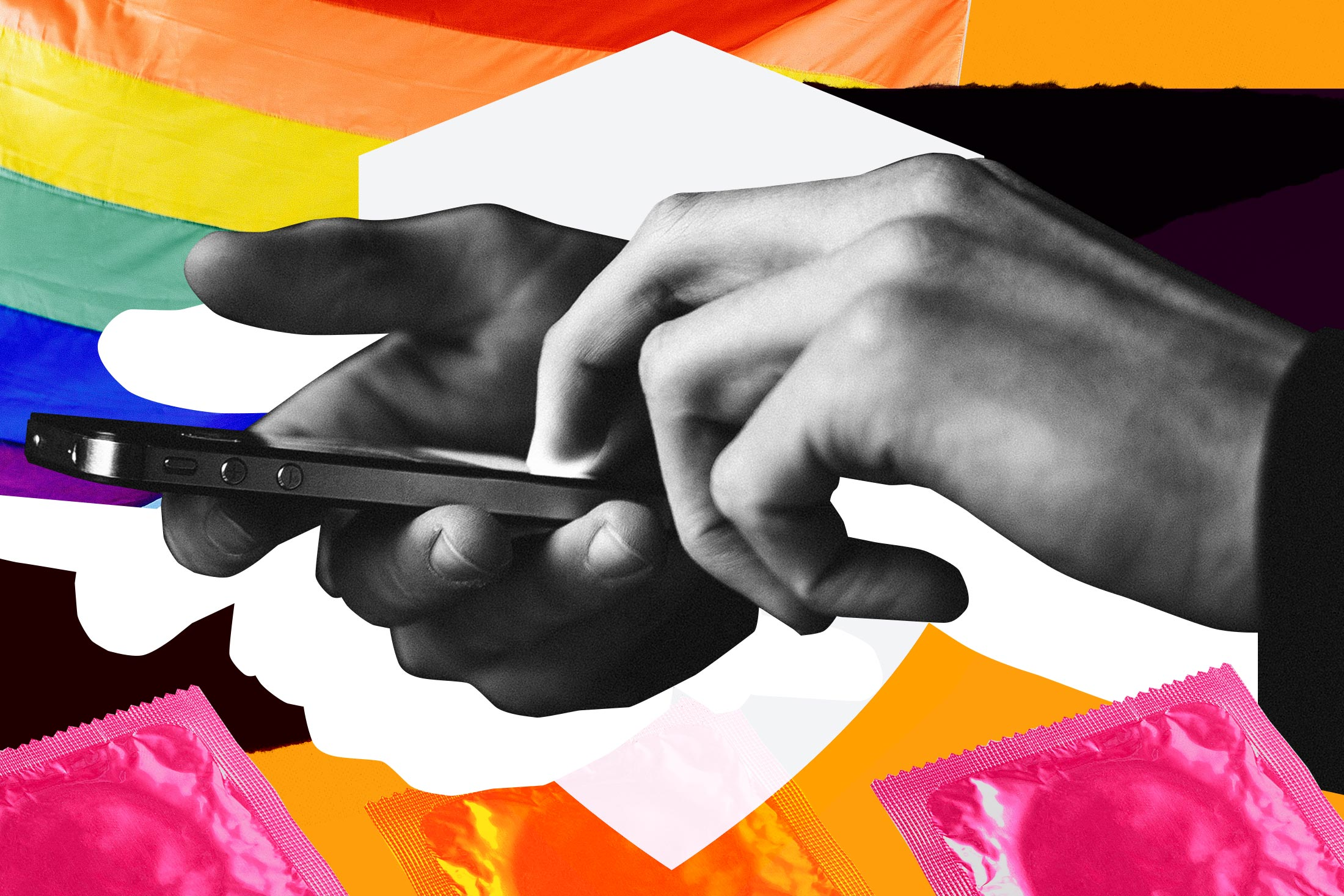 Hands holding phone over background of pride flags and condoms.