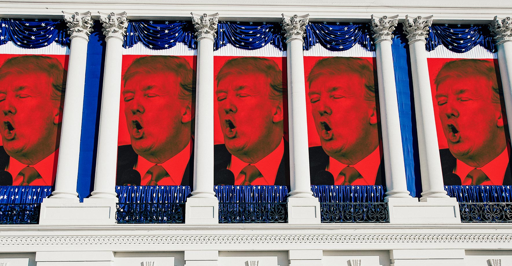 Photo illustration of banners with Trump's face hanging from the columns of the US Capitol building.