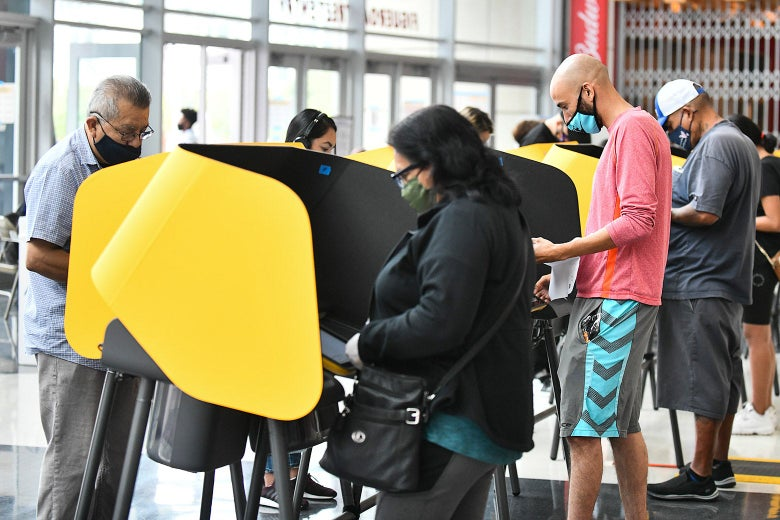 Voters cast their Election Day ballots at Staples Center in Los Angeles.
