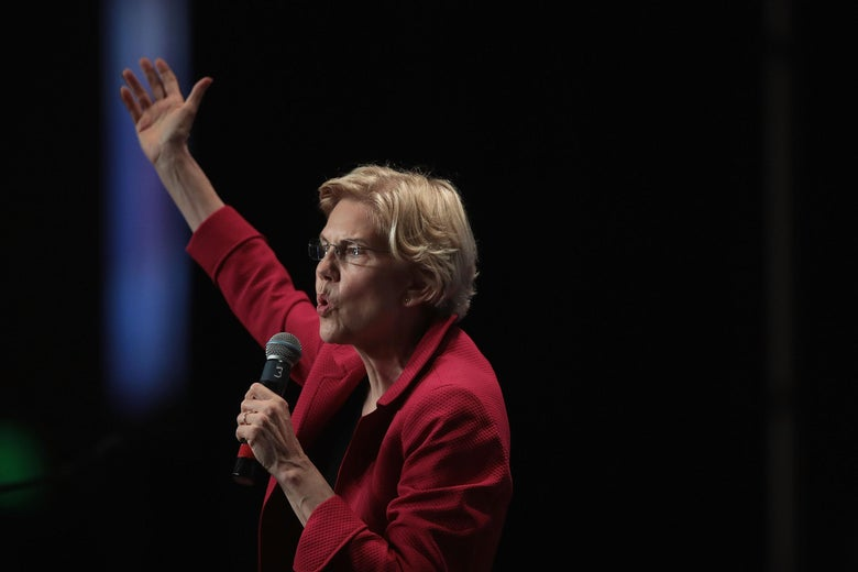 Elizabeth Warren speaks at the Iowa Democratic Party's Hall of Fame Dinner on June 9, 2019 in Cedar Rapids, Iowa.
