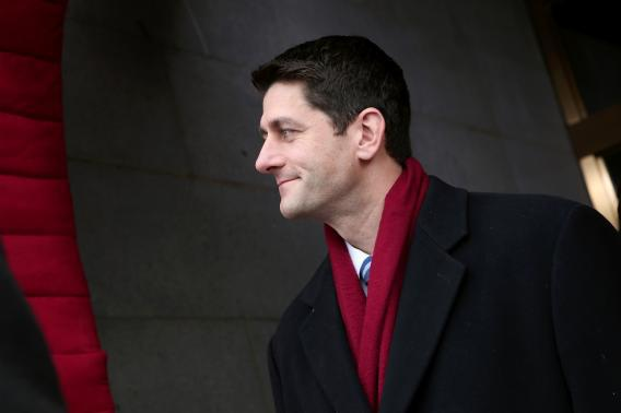 Paul Ryan, R-Wis., arrives for the presidential inauguration