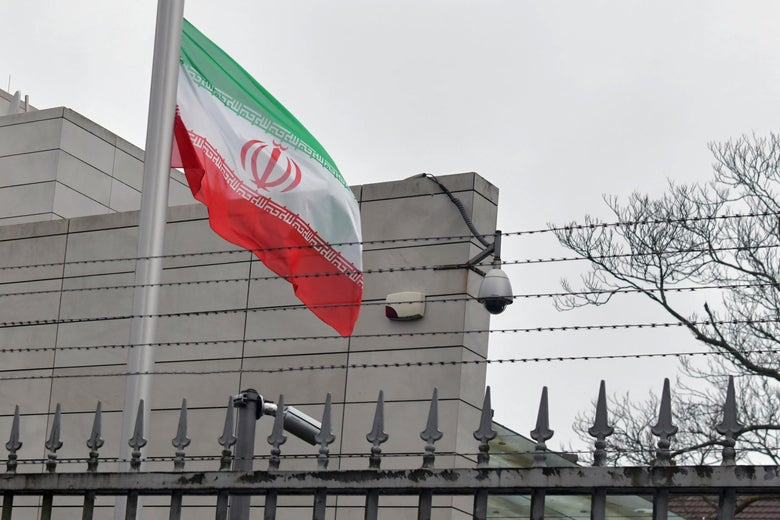 The Iranian flag at half-mast outside the Iranian Embassy in Berlin.